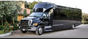 Black color Party Bus parking in winery.