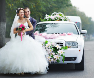 Bride and groom by Stockton Limo service
